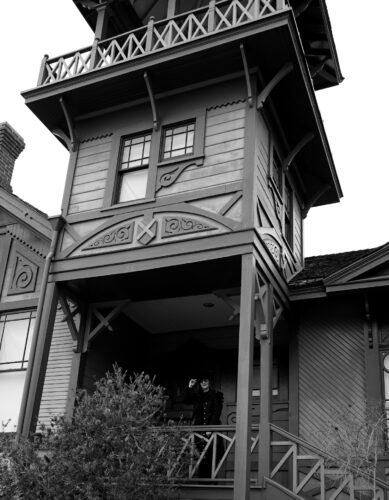 Horror Author Lori R. Lopez At Victorian House Porch