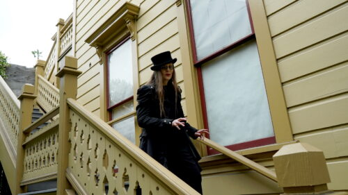 Horror Author Lori R. Lopez At Victorian House Stairs