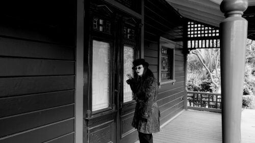 Horror Author Lori R. Lopez At Victorian House Front Door